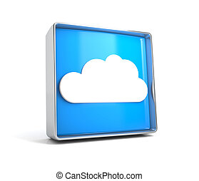Cloud - web button isolated on white background