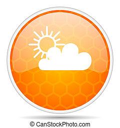 Cloud web icon. Round orange glossy internet button for webdesign.