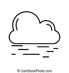 cloud with air lines weather line style icon