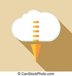 Cloud with arrow down icon, flat style