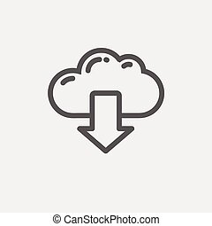Cloud with arrow down thin line icon