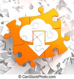 Cloud with Arrow Icon on Orange Puzzle.