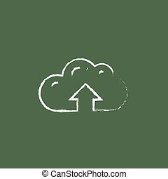 Cloud with arrow up icon drawn in chalk.