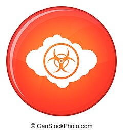 Cloud with biohazard symbol icon, flat style - Cloud with...