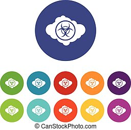 Cloud with biohazard symbol set icons in different colors...