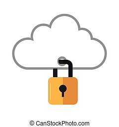 cloud with closed padlock icon