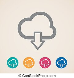 cloud with download arrow. vector icons