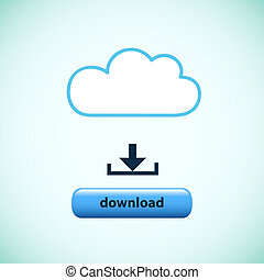 cloud with download button concept