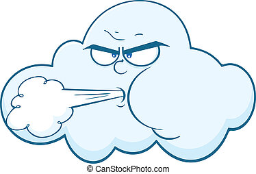 Cloud With Face Blowing Wind Cartoon Mascot Character...