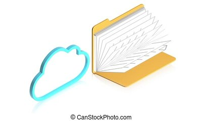 Cloud with folder - 3D animation of a simple objects for use...