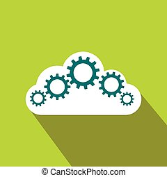 Cloud with gears icon, flat style