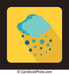 Cloud with hail icon in flat style