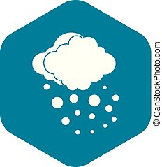 Cloud with hail icon, simple style