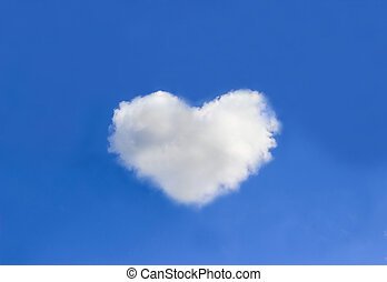Cloud with heart shapes on blue sky background