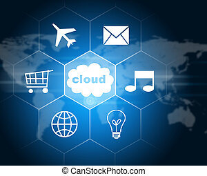 Cloud with icons. Technology concept