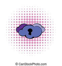 Cloud with keyhole icon, comics style