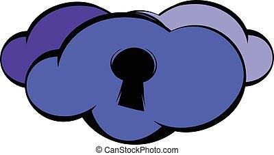 Cloud with keyhole icon, icon cartoon