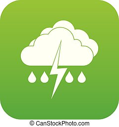 Cloud with lightning and rain icon digital green