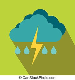 Cloud with lightning and rain icon, flat style