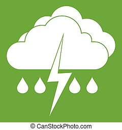 Cloud with lightning and rain icon green