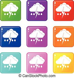 Cloud with lightning and rain icons 9 set