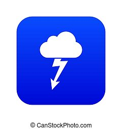 Cloud with lightning icon digital blue