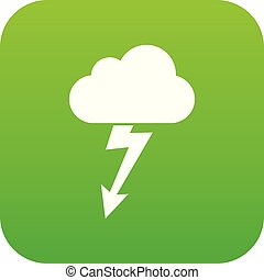 Cloud with lightning icon digital green