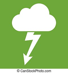 Cloud with lightning icon green