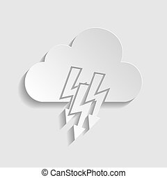 Cloud with lightning icon. Paper style icon. Illustration.