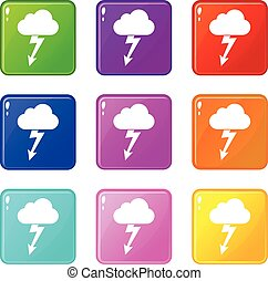 Cloud with lightning icons 9 set