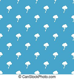 Cloud with lightning pattern seamless blue