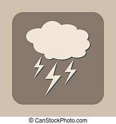 cloud with lightning weather vector icon
