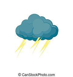 Cloud with lightnings icon, cartoon style