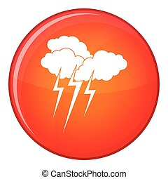 Cloud with lightnings icon, flat style