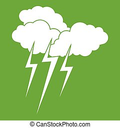 Cloud with lightnings icon green