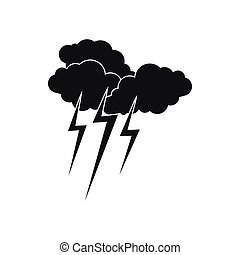 Cloud with lightnings icon, simple style