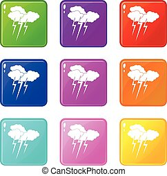 Cloud with lightnings icons 9 set