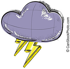 Cloud with lightnings weather icon