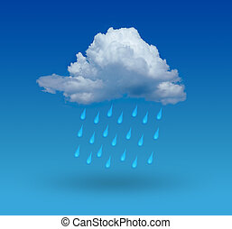 cloud with rain and blue background