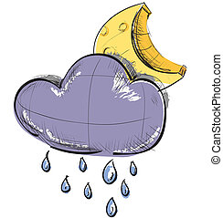 Cloud with rain and moon weather icon