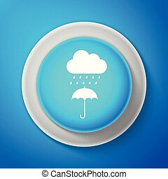 Cloud with rain drop on umbrella icon isolated on blue background. Circle blue button with white line. Vector illustration