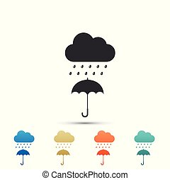 Cloud with rain drop on umbrella icon isolated on white background. Set elements in colored icons. Flat design. Vector Illustration