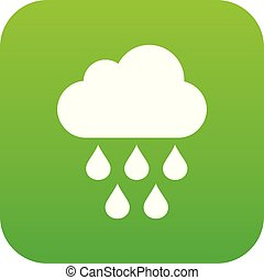 Cloud with rain drops icon digital green