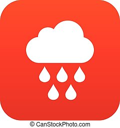 Cloud with rain drops icon digital red