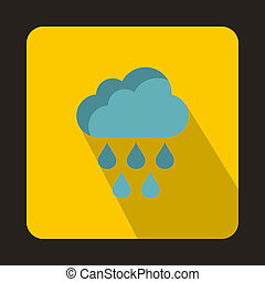 Cloud with rain drops icon, flat style