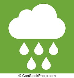 Cloud with rain drops icon green