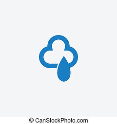 Cloud with rain drops icon
