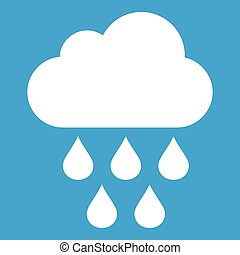 Cloud with rain drops icon white