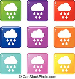 Cloud with rain drops icons 9 set