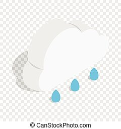 Cloud with rain drops isometric icon